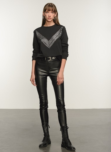 NGSTYLE Kadın Garni Detaylı  Sweatshirt NGKAW20SW0006 Siyah